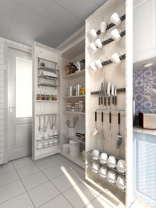 多功能收纳柜用简单的方法升级厨房,有效地收纳各种物品,通过磁吸的方式,固定门板上的物品收纳更为节省空间。
