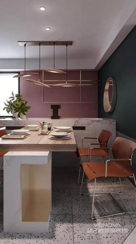 餐厅采用小吧台与餐桌结合的手法,闲暇时候,三两好友,聚餐更有氛围