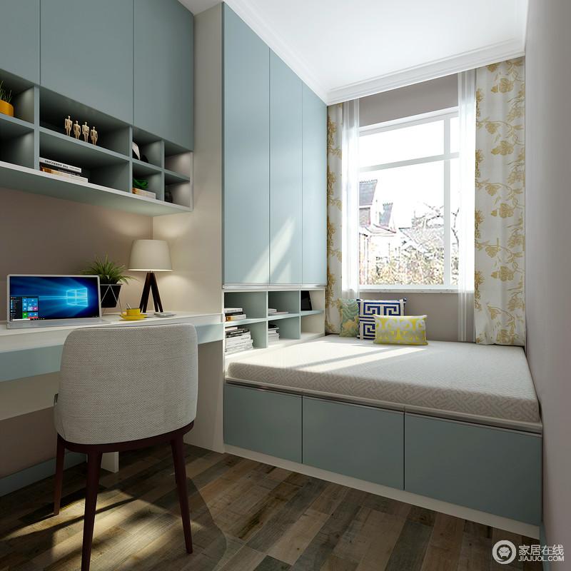 集阅读书写、储物、居住等功能强大的房间,让生活更为舒适;蓝色板材定制而成的书柜和榻榻米,以清和的色调,营造家的清幽。