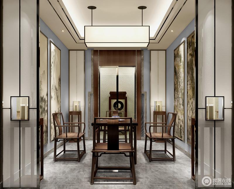 茶室在丰富的线条诠释下,古香古色中透着新中式的韵味;山水、人文国画发思怀古,传递出会古通今的空间意趣;造型简炼板正的桌椅,透着拙郁洒脱,与背景搭配组合,无不展现着风姿悠然的古朴灵动。