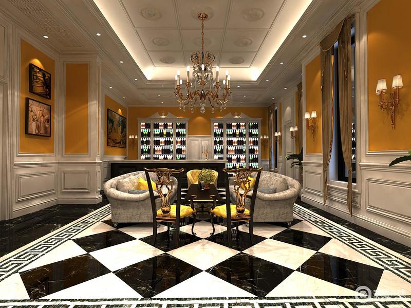 设计师大胆的混搭色彩,经典黑白搭配高饱和度的橙黄色,使休闲室既有冷淡的禁欲感,又仿佛热情似火,非常契合品酒闲娱的调性。中央地带的两把木质金雕椅,独特又具设计感。