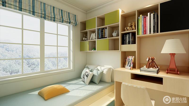 书房是主人较为私密的空间,可以在这个空间学习和放松;靠窗设计的定制榻榻米与几个悬挂柜让空间多了几何立体感,与书桌组合,足够主人学习之用。