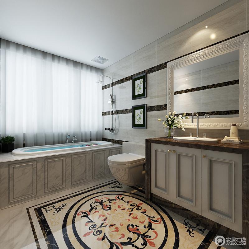 设计师并没有利用干湿分区的设计,而是以矩形台将浴缸嵌入其中,更显随性;条纹墙面和拼花地面的华彩碰撞出欧式之韵,简洁的盥洗台沉稳而实用,足以让你体验舒适。