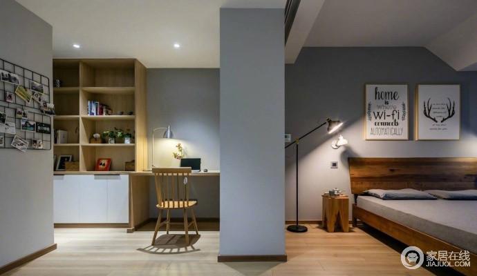 主卧与书房一墙之隔,忙碌完,回到舒适的大床,安然入梦;当然了,也可在闲暇之余,享受个人时光;浅灰色的墙面因为原木书柜变得温实了不少,铁架上的照片与木楞椅背的木椅,以线性之美,给予空间艺术感。