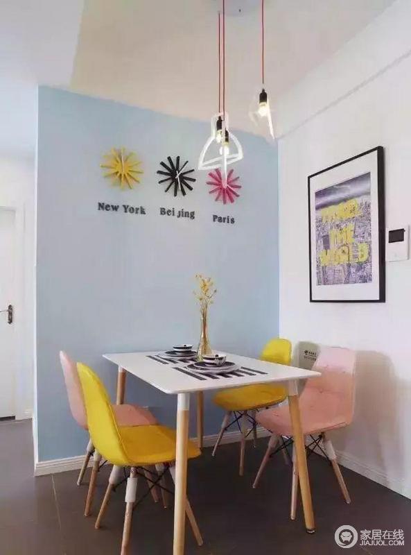 餐厅的色彩搭配的非常的巧妙,背景用蓝色,椅子有黄和粉,都时属于浅色系的颜色,不会太过于突兀。