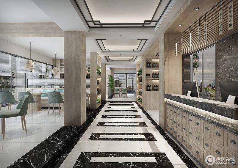 门厅的地面采用大理石来铺设,黑色的大理石让整个空间变得不再那么轻浮,木制的酒柜上开放格的设计让红酒有了充分的展示。