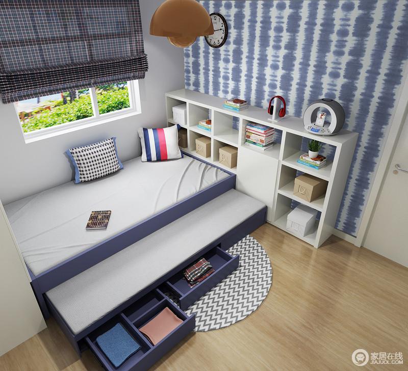 除了床榻,收纳也是不可少的,所以,设计师干脆将几何置物柜与之形成搭配,让生活不缺少实用性。