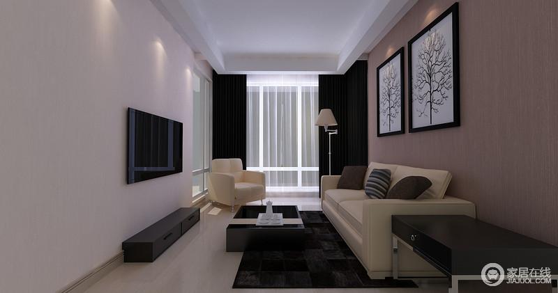 整个休闲室设计得较为简单,通过褐色壁纸与黑色窗帘营造沉寂,让利落的线条更为精细;黑白简画做装饰与空间内黑色系家具呼应,搭配米色现代沙发,成就空间的惬意之调。