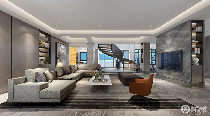 家庭厅的设计就更加现代化了,简约的线条再搭配上高质感的家具和软装简单却令人舒服;大大的开窗还能将外面的海景引入室内增加室内的高雅情调,旋转地楼梯给予空间建筑结构之美,让中性色调的空间格外大气。