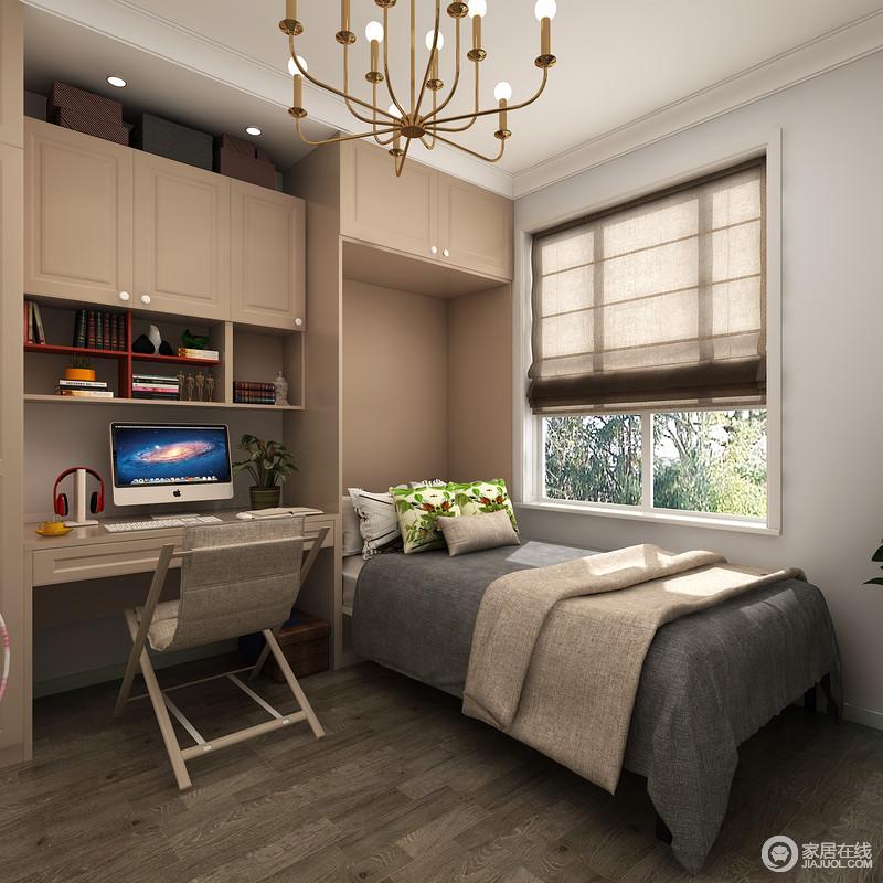 书房内定制得高柜定兼顾客人留宿的空间,同时与书柜呈一体式设计,足显功能性设计的实用。