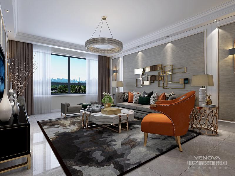 本案以现代风格的设计,要求以中性时尚,温馨,大气,为主题。要让空间搭配充满恒久的亲和力!让人比较容易接受。在家具上采用了大量的布艺,这样为后期生活上带来很大的舒适性。基装多面采用石膏板棚面造型棚及靓丽的玫瑰金铜条,墙体全部壁纸等材料相结合,尽显现代风格装修的时尚及简洁大方。