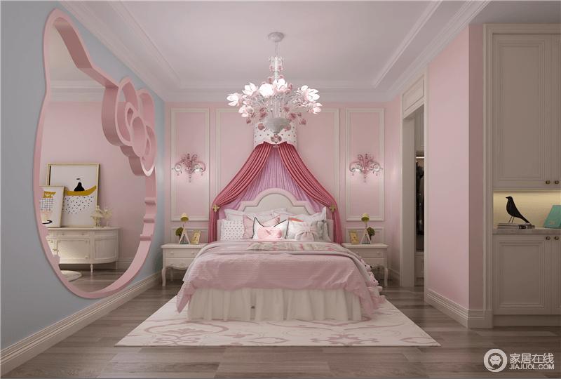 公主房的红白搭配的主题颜色,搭配上蓝色的点缀,满足每一个女孩的公主梦;从床幔到配饰,从猫头隔断墙分隔空间,无不体现出桃粉色的梦幻与温馨。