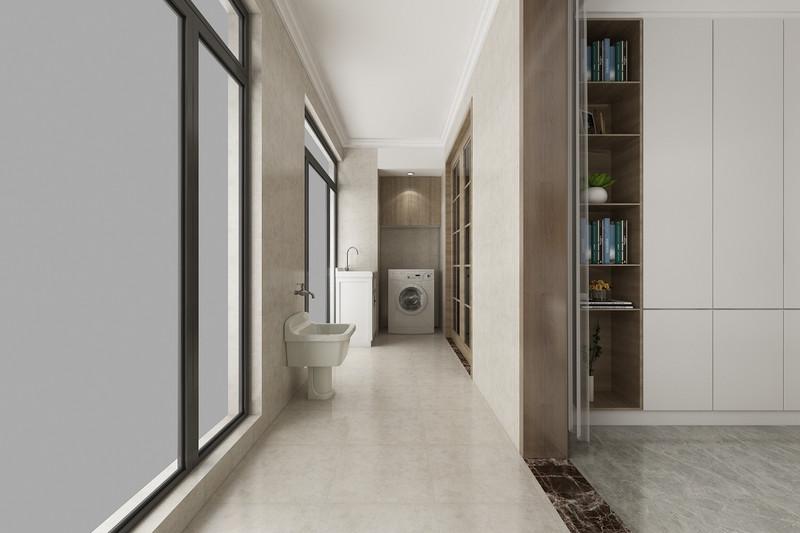 临沂装修灏园-三室两厅装修现代简约风格-阳台洗衣房效果图