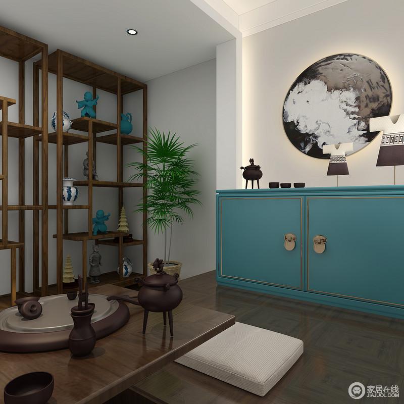 茶室因为充满文化气息的博古架带来新中式韵味,而展示您心爱的收藏品,边品着茶边观赏,好不快意。