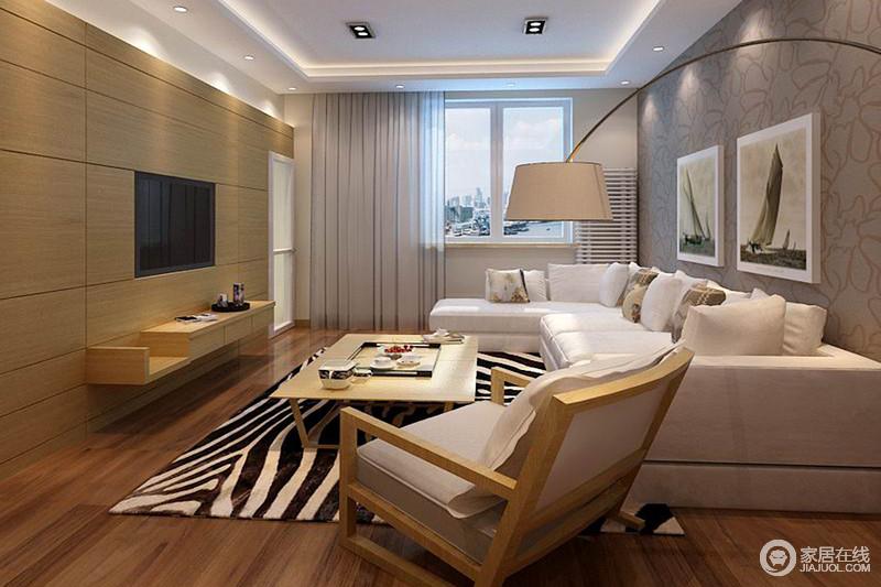 客厅线条简洁,浅褐色壁纸作装饰,并在灰色布艺沙发的反衬中,造就空间温质;实木家具简洁利落的线条,搭配落地灯,让生活满是自在。