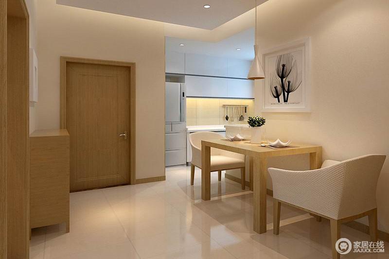 餐厅以浅驼色来粉刷空间,与米色砖石打造生活的自然与温馨;开放式的格局自造自在,而实木家具及餐椅以现代设计,构筑家的大气。