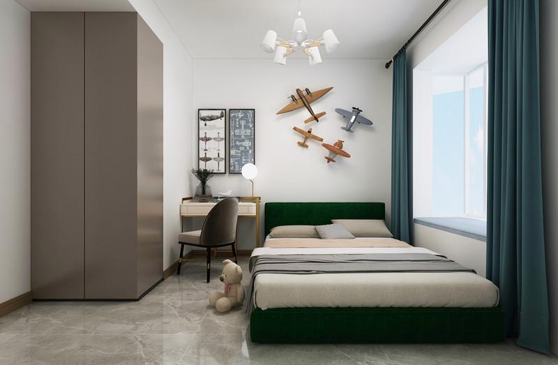 临沂装修金升华府-三室两厅两卫装修-现代轻奢风格次卧室装修效果图