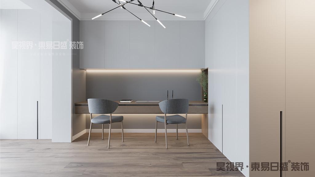 书房配色简洁素雅,色调沉稳宁静,或白或灰的色调,让书房显得既稳重而又不失时尚。