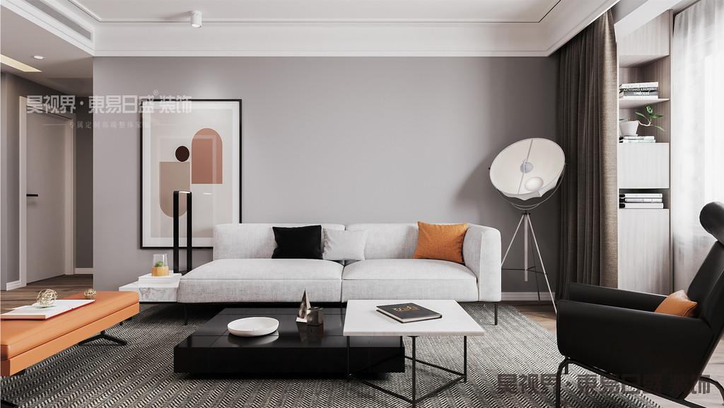 沙发背景采用的不对称单呼应的手法,也是在追求了几十年的中轴线对称后当下更具灵动的摆放手法。同时在灯光的运用上,也打破的传统的平衡周圈布灯的方式,而是在重点区域画的上方来做重点照明。对的设计就是对的东西出现在对的位置上。