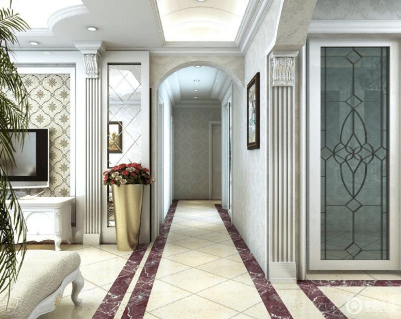 通过一条狭长的走道连接客厅和主卧室,拱形的门框与菱形拼接色地面加重了空间的造型美学,让空间更为轻奢。