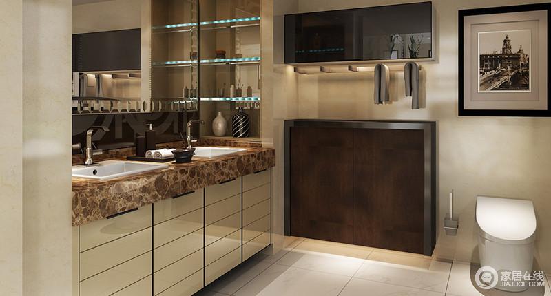 卫生间干湿分区的处理,让盥洗空间足够简洁和干净,原本浅色系的装饰铺贴出了一份朴质,而米色盥洗柜的几何立面与褐色大理石台面,让整个空间不失自然朴质;再加上镜面柜、储物柜和玻璃收纳架成全实用艺术,成全生活的舒适、洁净。