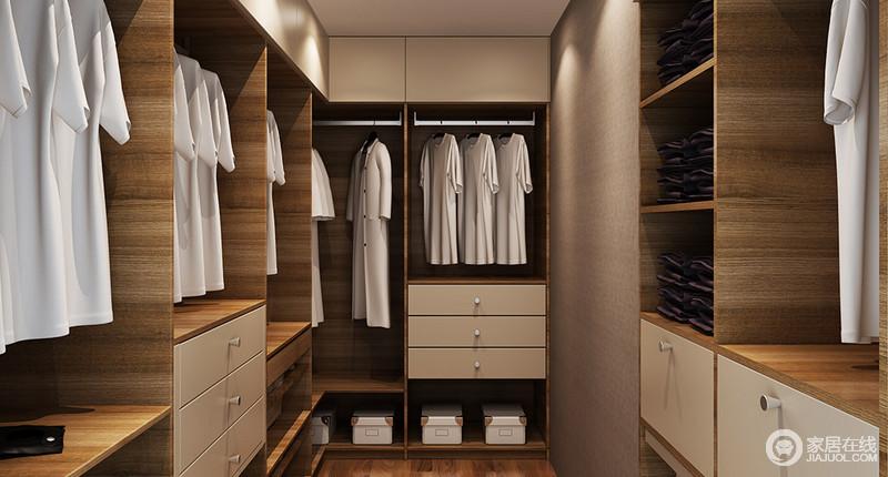 衣帽间定制设计,从悬挂区、收纳区到抽屉区将收纳做到了分类明确,足显品质生活;褐胡桃色的板材搭配米白色柜面,深浅之中,凸显空间的色彩层次,尤为朴质。