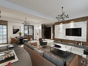 金升华府-140平三室两厅装修-现代轻奢风格装修案例赏析