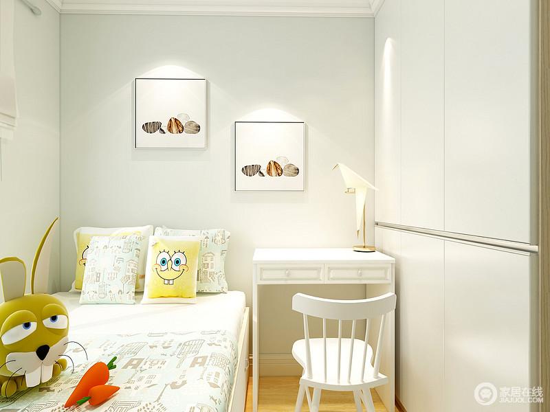 儿童房以白色为主,简单的设计让生活少了繁杂,衣柜和书桌摆放的刚刚好,既实用又不占用太多空间,简单舒适。