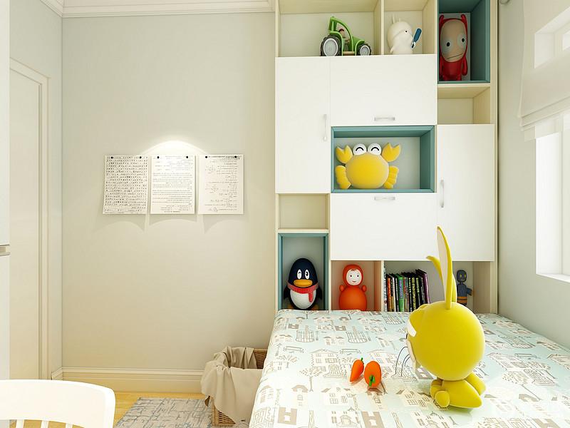 儿童房内定制得几何储物柜让空间更为利落,卡通玩饰点缀,让空间更为童趣。