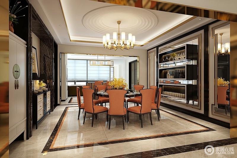 餐厅通过黑色线条勾勒出就餐区域,以线条来划分功能区,令橙色餐椅成为整个空间的焦点,摩登而优雅;白色圆盘纹状吊顶呼应着空间的色彩,中和了黑色悬挂柜和黑白边柜的成熟,绘制了现代的画面。