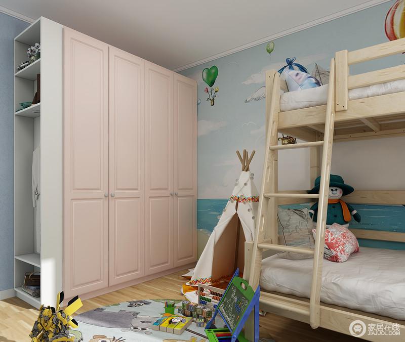 上下床柜体组合设计,同时容纳两人同住的空间,美观又实用。 衣柜放置在进门处,格子柜开放格的设计更方便孩子衣物的取拿。