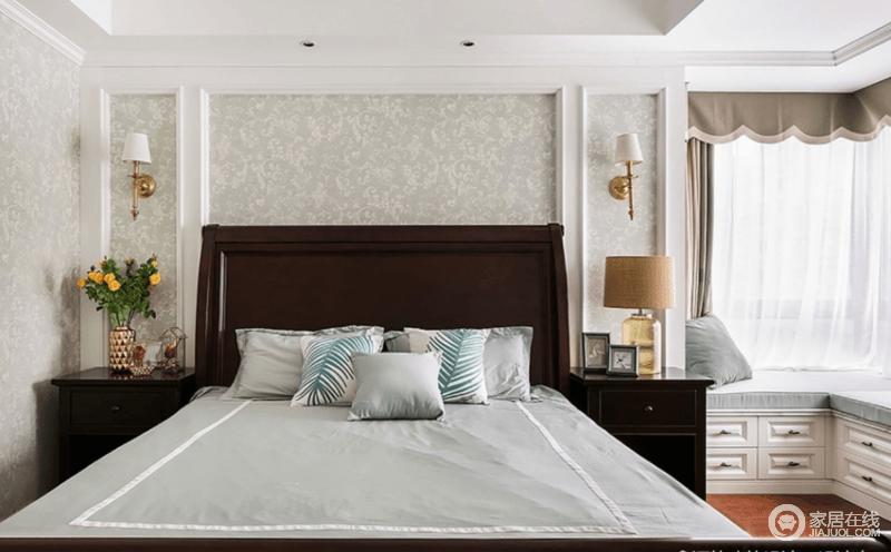 主卧以浅色调为主,营造大气庄重的空间格调,超大L型飘窗配以浪漫的窗纱和舒适的抱枕,打造轻松随性的休闲区。
