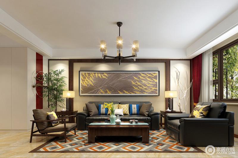 电视墙利用软包和木线勾勒装饰,同时饰以寓意美好的祥云营造,传递出具有东方雅调的中式韵味;流动般的图案,与地毯的几何格纹,瞬间打造出空间上的丰富层次和独特视感,让空间多了碰撞的雅趣。