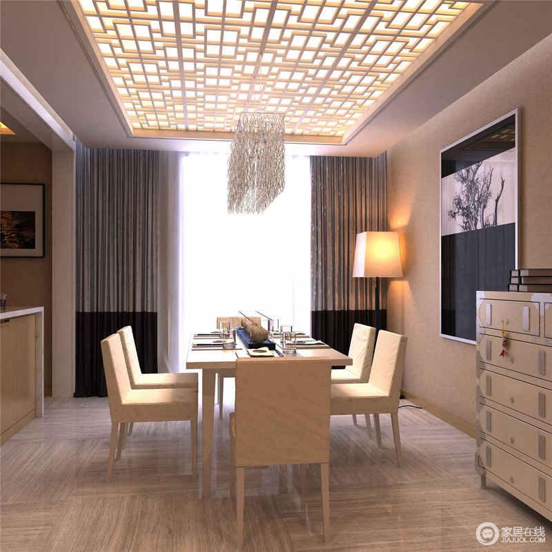 白色调为主的餐厅以中式窗棂的设计将吊顶与光影调染出灵动感;而整体简洁的设计,利用白色玄关柜和白色餐桌椅搭配出白净之雅,让木纹砖石的自然与水晶流苏灯的不同质感凑成现代多样多趣。