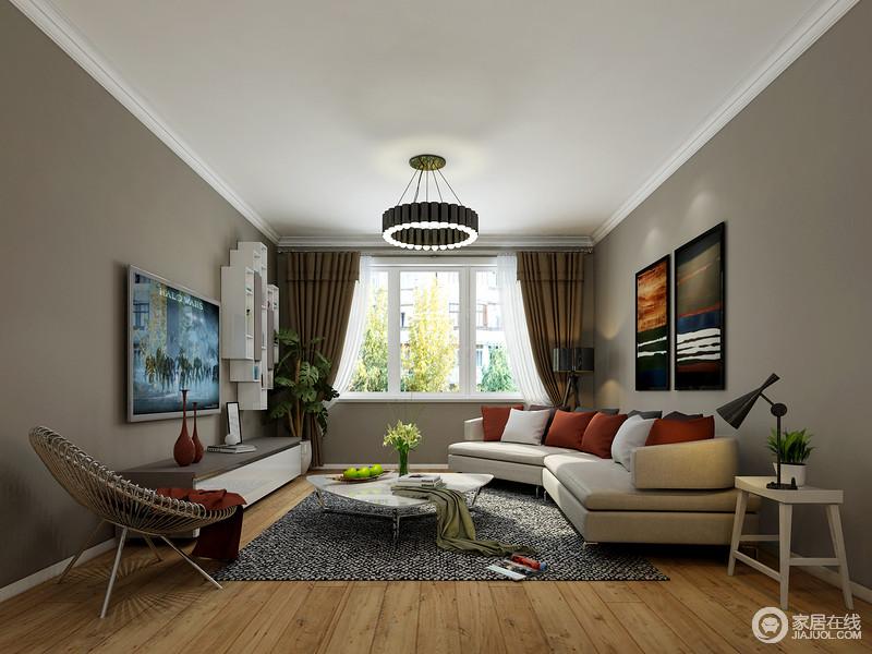 客厅结构简单,白色石膏线与墙面让空间格外利落,褐灰色法兰绒沙发、带来现代质感,而几何地毯和造型别致地边几,组合出现代轻奢。