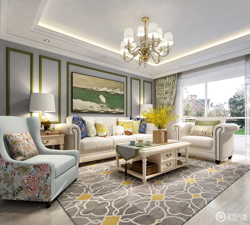 清新的室内设计,让大家以愉悦的心情及轻松自由的状态去感知它。用灰色地毯去点缀让整个空间变得更加沉稳。