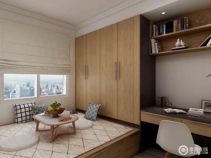 卧室以榻榻米来强化功能,定制得木衣柜与书桌等一体式设计,以模块化的设计提升体验;菱形地编织毯和靠垫带着几何简约,让空间柔和得体。