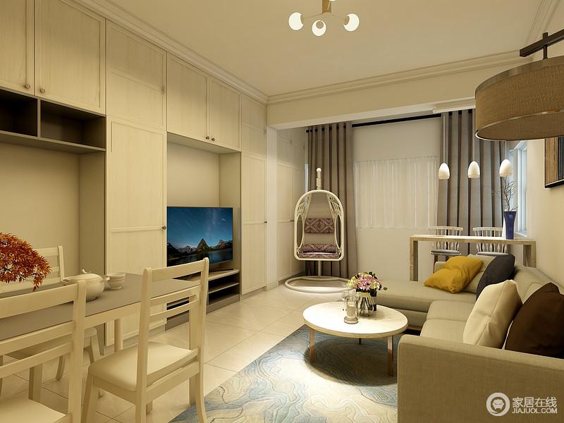 客厅以白色为主,通过定制得收纳柜等来增强空间的功能性,现代家具组合满足生活之用,驼色沙发搭配圆几,令空间具有形质艺术,而昏暗地灯光,调和出一种素暖。