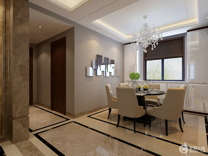 餐厅开放式的结构因为地砖的黑色框线做到自然区分,却互动有无;灰色漆搭配白色烤漆厨柜,不显得沉闷,反而明快大气;欧式水晶灯的晶莹剔透与中性色餐椅的圆弧形设计,让空间精奢典雅。