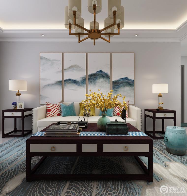 淡雅富有诗意的背景墙以一副中国画来晕染整个空间的东方文化,富有层次和诗意的色彩更有中国韵,新中式家具的对称,让你感受到和谐之美。