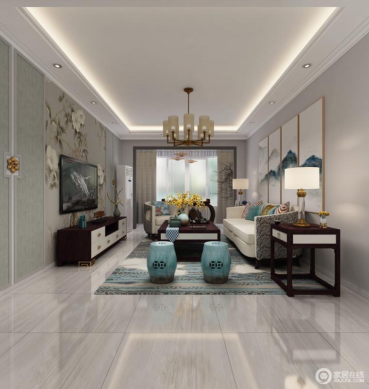 深色的中式家具搭配浅灰色的现代地砖,强烈的对比搭配新中式蓝色坐凳,给人带来一丝清新。