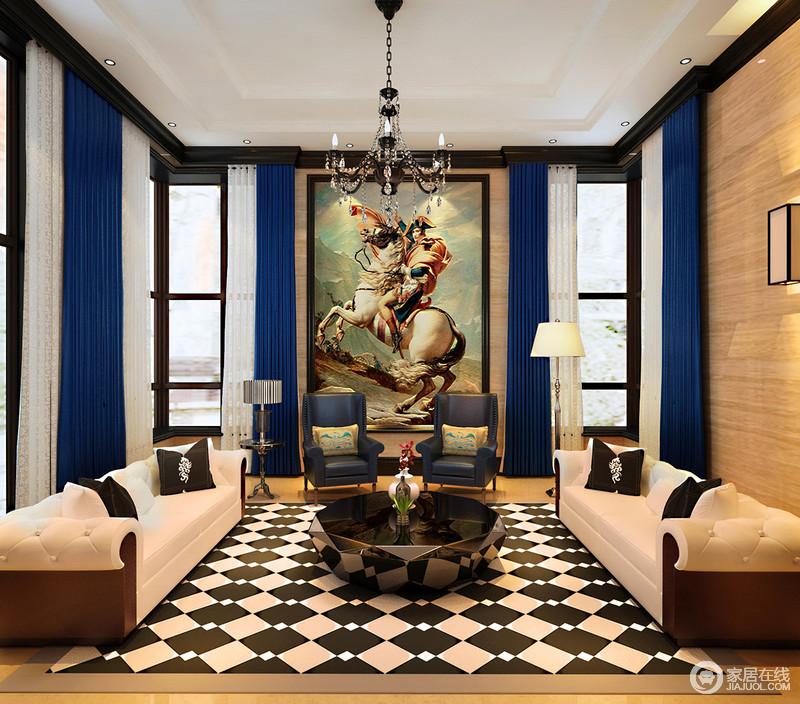 蓝白交叠与黑白穿插,纷繁饱满又高调的颜色,使空间桀骜张扬,一如正中墙面上装饰的戎马倥偬的拿破仑画像。米色布艺沙发与墨蓝皮质单人椅环绕墨色茶几,空间极具视觉冲击。
