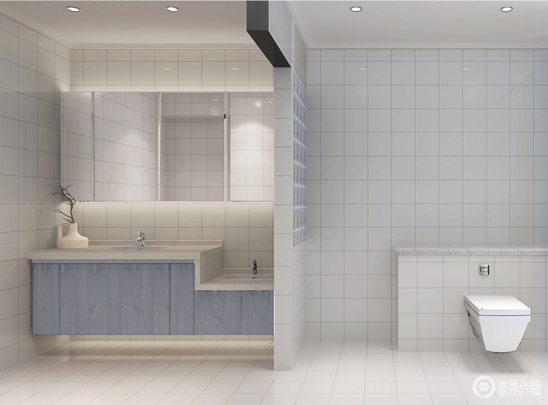 纯粹的白色方块砖,从墙面铺设到地面,让整个卫浴格调素淡简约,体现出干净整洁;隔断墙内嵌小格子架,与砖墙设计保持一致性;蓝色高低盥洗台,展现出设计的贴心;浴室镜将物品收纳,隐于无形。