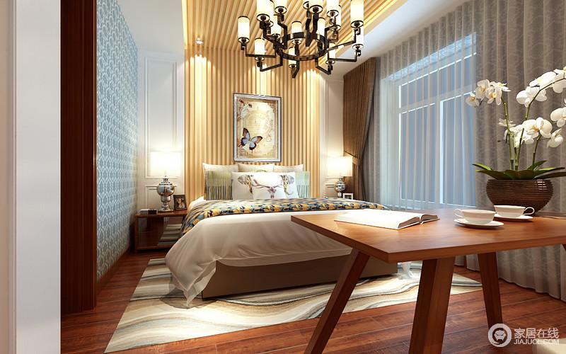 卧室在设计上充满别致创意,白色护墙板装饰的床头,原木线板从墙面延伸至天花,与木地板形成一种自然包裹结构;墙面则大胆铺贴蓝色花纹壁纸,与床品印花、曲线纹地毯交织辉映;将艺术和设计风尚的结合,华丽但不显繁冗。
