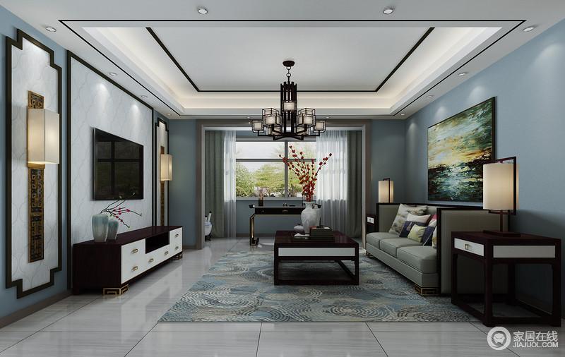 朴质沉厚的实木家具带着沉淀的底蕴,赋予空间更多的历史韵味;组合的沙发组搭配着茶几,造型端正大方,给空间带入深沉雅致的华贵。