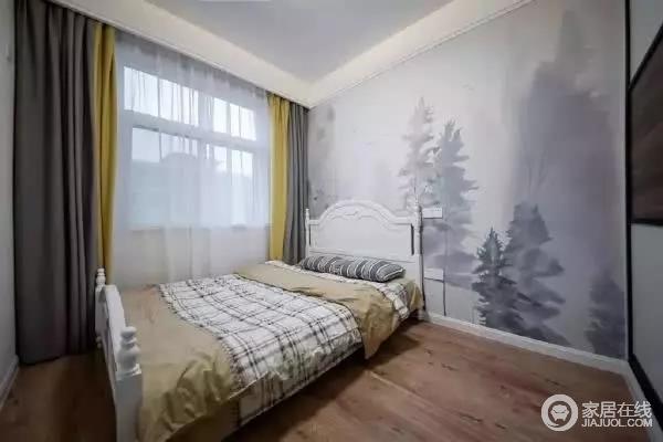 儿童房色彩上则更加亮丽和活泼,床头背景墙也是黑白灰三种色调描绘的自然图,颇有意境,白色卧床搭配卡其色和白色格子床品,时尚素淡。窗帘用了灰色,撞黄色,大胆配色,营造活泼又舒朗自然的室内环境。