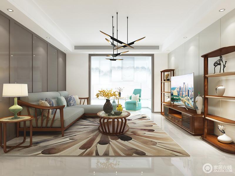 空间方正得体,新中式沙发茶几延续东方之韵,彰显华丽;灰色的背景墙平衡出中式艺术,现代感的线条地毯,与中式实木家具陈列出抑扬顿挫地和温。