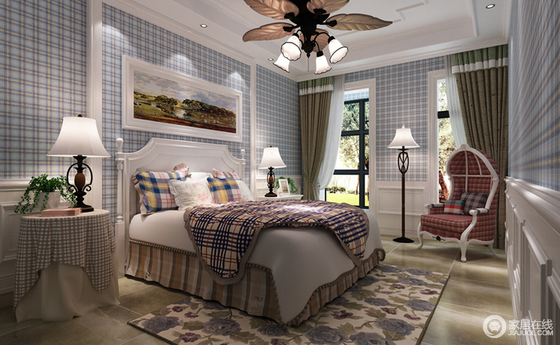 蓝色格纹壁纸将英格兰风格展露无遗,紫色花朵地毯和花式吊灯、铁艺灯具组合出田园的奇妙世界,集结着生机勃勃。