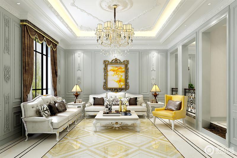客厅大量的使用几何线条,暖灰墙板上雕花细腻精致,造型优雅的皮质沙发完美搭配,浪漫的法式情调呈现出来。柠檬黄沙发椅与画作、地板拼花色彩呼应,活泼了空间氛围。