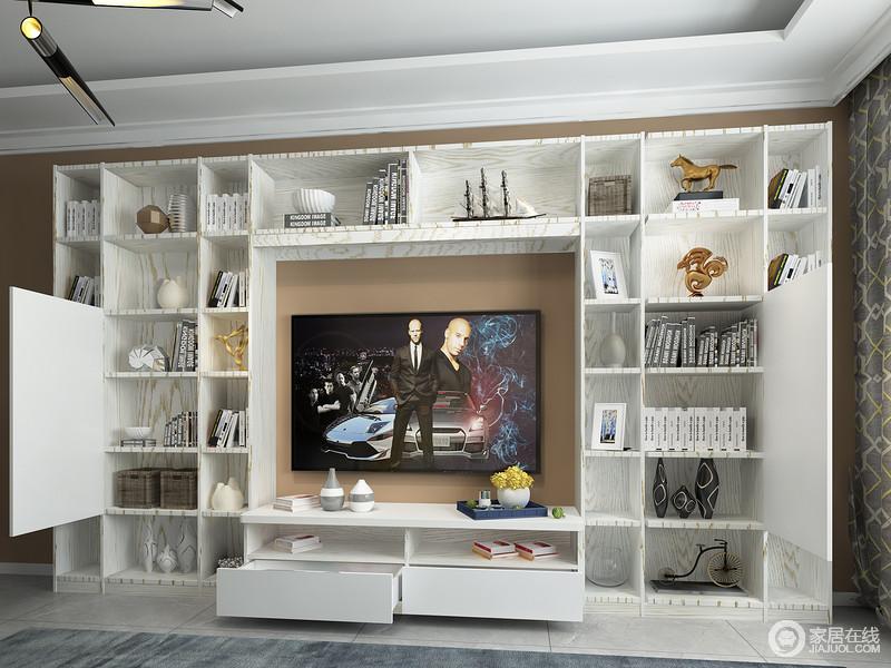 多功能组合电视柜完美帮您解决重要的收纳问题,白色的几何柜阵列着展品,也给空间带来一种美学上的享受。